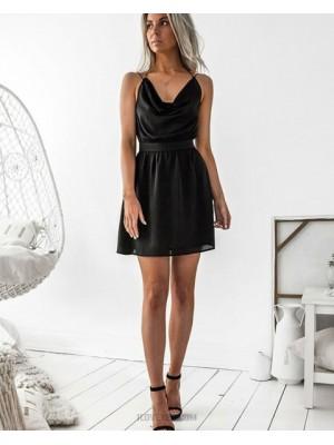Simple Double Spaghetti Straps Black Chiffon Graduation Dress