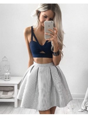 Two Piece V Neck Cutout Blue Bodice Homecoming Dress With Striped Skirt