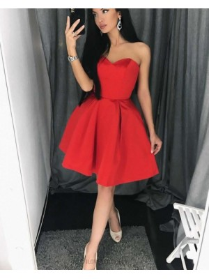 Simple Sweetheart Satin Pleat Red Homecoming Dress