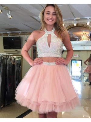 High Neck Pink Cutout Beading Two Piece Homecoming Dress