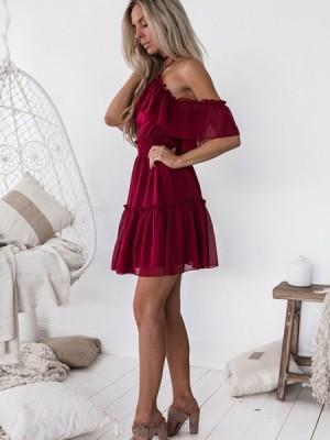 Cold Shoulder Burgundy Chiffon A Line Homecoming Dress