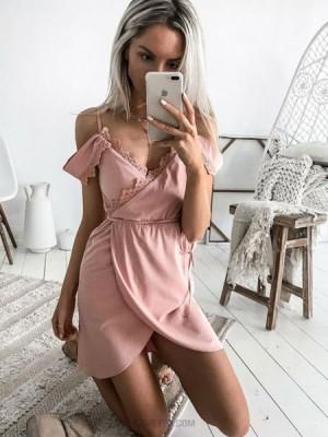 Cold Shoulder Pink Satin Graduation Dress With Tulip Skirt