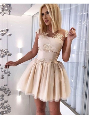 Jewel Sheer Appliqued Tulle Champagne Homecoming Dress