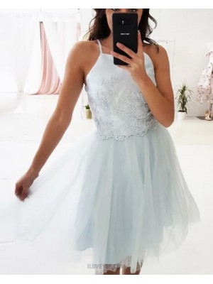 Spaghetti Straps Applique Grey Homecoming Dress With Tulle Skirt