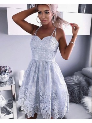 Double Spaghetti Straps Dusty Blue Lace Pleated Homecoming Dress