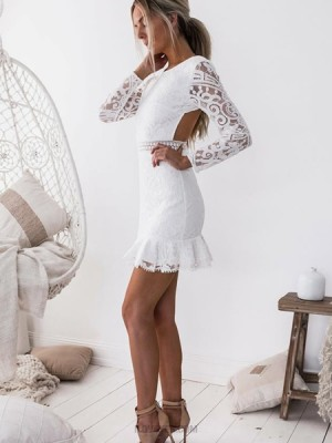 Jewel White Bodycon Lace Homecoming Dress With Long Sleeves