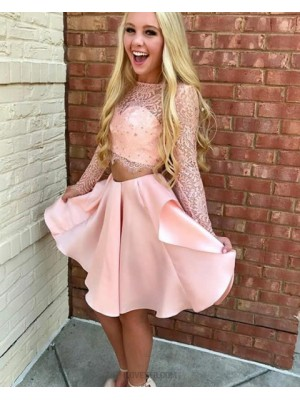 Amazing Two Piece Sheer Lace Bodice Pink Homecoming Dress