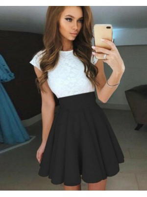 Jewel White Lace Bodice Pleated Homecoming Dress With Black Skirt