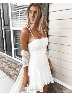Simple Square White Asymmetric A Line Homecoming Dress