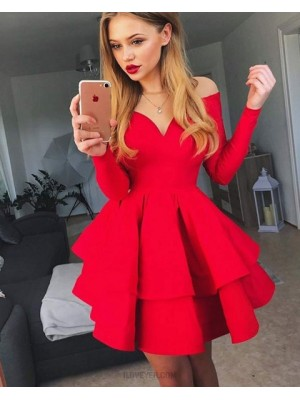 Sheer Red Satin Layered Skirt Homecoming Dress With Long Sleeves