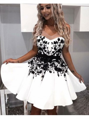 V Neck Pleated White Satin Homecoming Dress With Black Appliques