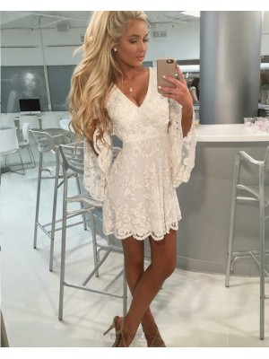 A Line Ivory V Neck Lace Homecoming Dress With Bell Sleeves