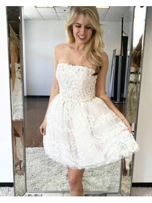 Fit And Flare Strapless White Lace Short Homecoming Dress