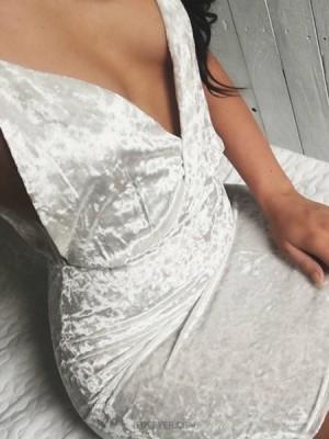 Deep V Neck Sexy White Velvet Bodycon Homecoming Dress