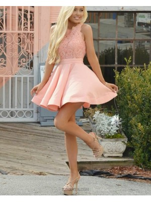 Fit And Flare Jewel Coral Pink Lace Bodice Homecoming Dress