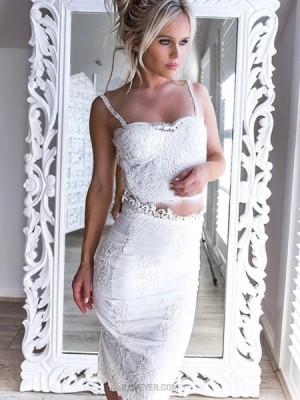 Two Piece Square Lace Bodice Knee Length White Graduation Dress