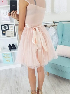Sheer Lace Appliques Pink Tulle Homecoming Dress