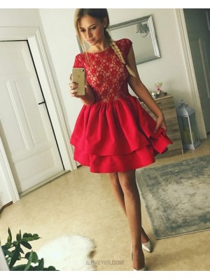 Jewel Lace Bodice Red Homecoming Dress With Layered Skirt