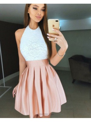 A Line Halter White And Pink Pleated Lace Homecoming Dress