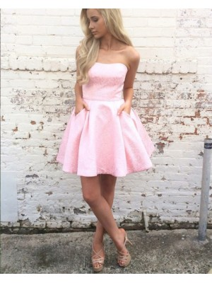 A Line Strapless Pink Lace Homecoming Dress With Pockets