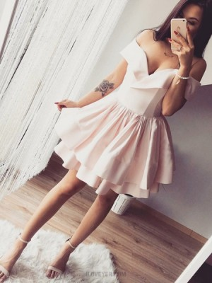 Off The Shoulder Pearl Pink Pleated Homecoming Dress With Layered Skirt