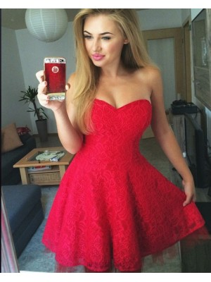 Elegant Sweetheart Red Lace A Line Homecoming Dress