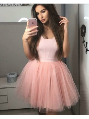 A Line Simple Satin And Tulle Pink V Neck Homecoming Dress