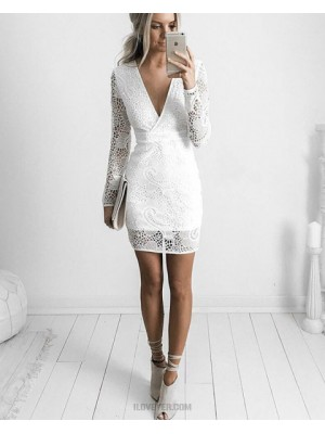 White V Neck Lace Tight Graduation Dress With Long Sleeves