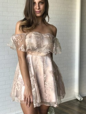 Off The Shoulder Champagne Satin Short Homecoming Dress With Lace