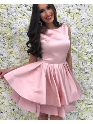 Jewel Blush Pink Satin Layered Simple Homecoming Dress With Pleats