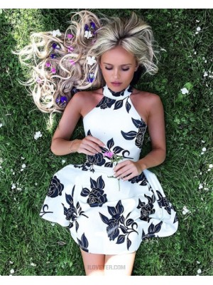 A Line High Neck Floral Print Satin Homecoming Dress