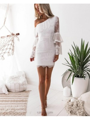 Asymmetric White Lace Tight Homecoming Dress With Long Sleeves