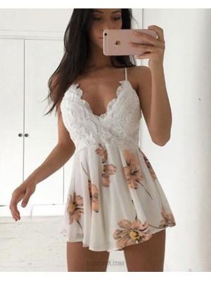 Spaghetti Straps Lace Bodice Homecoming Dress With Chiffon Print Skirt