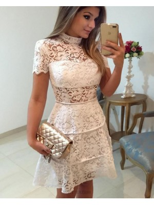High Neck White Lace A Line Homecoming Dress With Short Sleeves