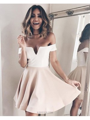 Off The Shoulder Simple White And Pink Cutout Satin Homecoming Dress