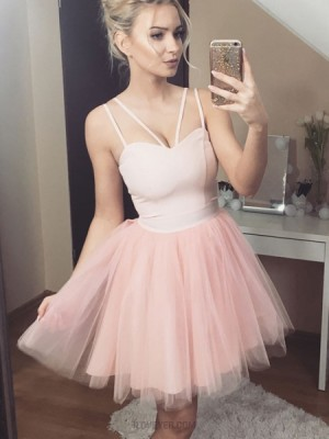 Double Spaghetti Straps Pink Tulle Homecoming Dress