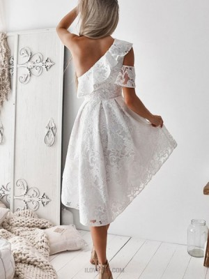 One Shoulder Lace High Low White Homecoming Dress