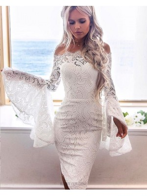 Off The Shoulder White Lace Knee Length Homecoming Dress With Bell Sleeves