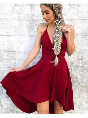 Halter Simple Satin Red High Low Homecoming Dress