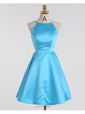 A Line Spaghetti Straps Satin Light Blue Short Homecoming Dress