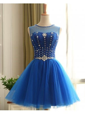 Jewel Beading Bodice Blue Homecoming Dress With Tulle Skirt