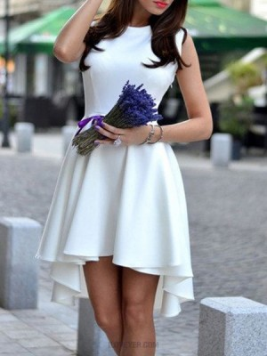 Jewel White Fit And Flare High Low Satin Homecoming Dress