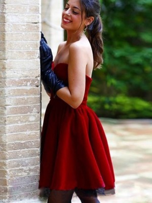 A Line Sweetheart Pleated Red Satin Homecoming Dress