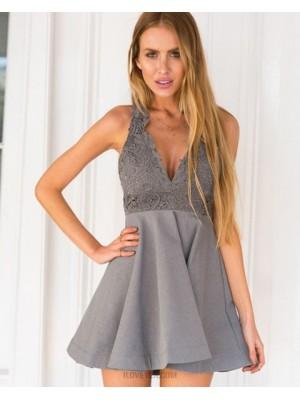 A Line V Neck Lace Bodice Grey Satin Homecoming Dress
