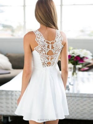 Jewel White Satin Cutout Pleated Empire Homecoming Dress