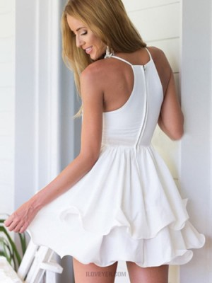 Simple White V Neck Layered Pleated Homecoming Dress