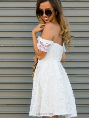 Off The Shoulder White Lace A Line Short Homecoming Dress