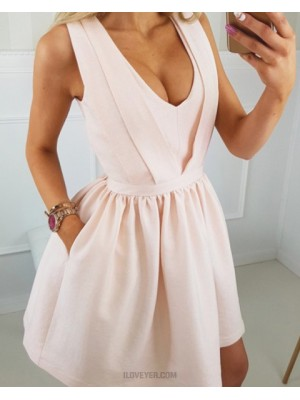 Scoop Pearl Pink Satin Simple Homecoming Dress With Pockets