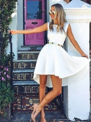 Simple Fit & Flare White Jewel Satin A Line Homecoming Dress