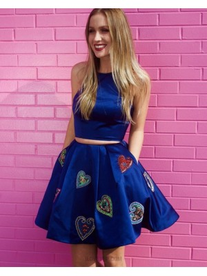 Two Piece Blue Jewel Appliqued Homecoming Dress With Pockets